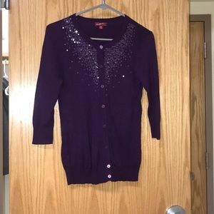 Purple Long Sleeve Sequined Shirt